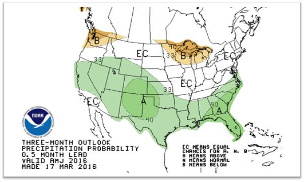 The three-month precipitation outlook as of March 31, 2016. (Climate Prediction Center/NOAA)