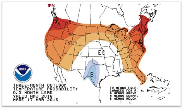 The three-month temperature outlook as of March 31, 2016. (Climate Prediction Center/NOAA)