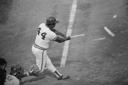 Brewers slugger Hank Aaron shatters his bat during second inning play of the 1975 All-Star Game at Milwaukee County Stadium in Milwaukee, Wisconsin.