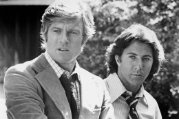 Robert Redford and Dustin Hoffman as Woodward and Bernstein, the reporters who broke the Watergate scandal, in All the President's Men.