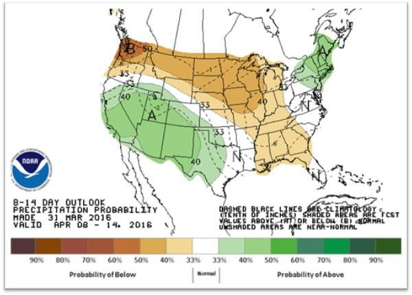 The 8- to 14-day precipitation outlook as of March 31, 2016. (Climate Prediction Center/NOAA)