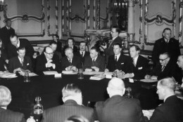 British Foreign Secretary Ernest Bevin (1881 - 1951) meets the Foreign Ministers of France, Belgium, Holland and Luxembourg at Lancaster House in London, to begin talks on the Washington draft of the North Atlantic Treaty, 14th March 1949. A. V. Alexander (1885 - 1965), Britain's Minister of Defence, is on the extreme right, with Mr Bevin on his right. (Photo by Reg Speller/Fox Photos/Hulton Archive/Getty Images)