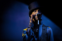 In this Saturday evening, Aug. 6 2011 photo American singer and songwriter Prince performs on the Isle of Amager in Copenhagen, Denmark. The concert was the first of two and it was interupted by heavy rain. (AP Photo/Polfoto/Jakob Joergensen) DENMARK OUT