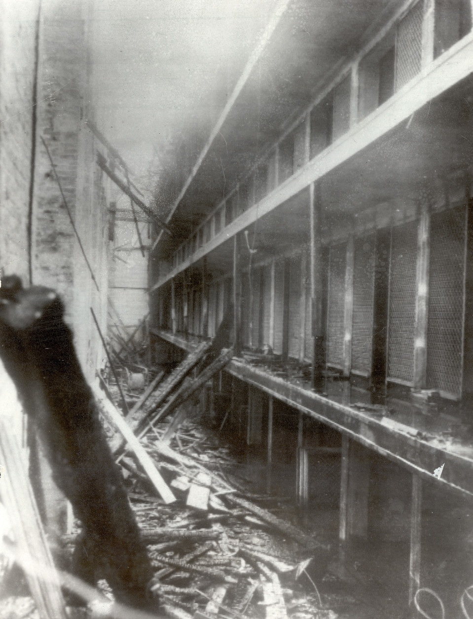 The charred ruins of the cell block in the Ohio State Penitentiary  in Columbus, Ohio are shown on April 22, 1930. Over 300 inmates were killed in the fire. (AP Photo)