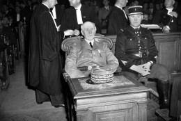 French Marshal Henri Philippe Petain sits in court as his trial opened in Paris, France on July 23, 1945.  (AP Photo/Carroll)