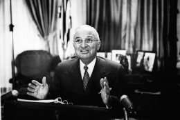 President Harry S Truman announces the government seizure of the steel industry on April 8, 1952.  His action came after the collapse in New York of union-industry negotiations designed to head off a strike of thousands of steelworkers on April 8. (AP Photo)