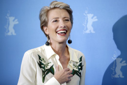 Actress Emma Thompson smiles during a photo call for the film 'Alone in Berlin' at the 2016 Berlinale Film Festival in Berlin, Germany, Monday, Feb. 15, 2016. (AP Photo/Michael Sohn)