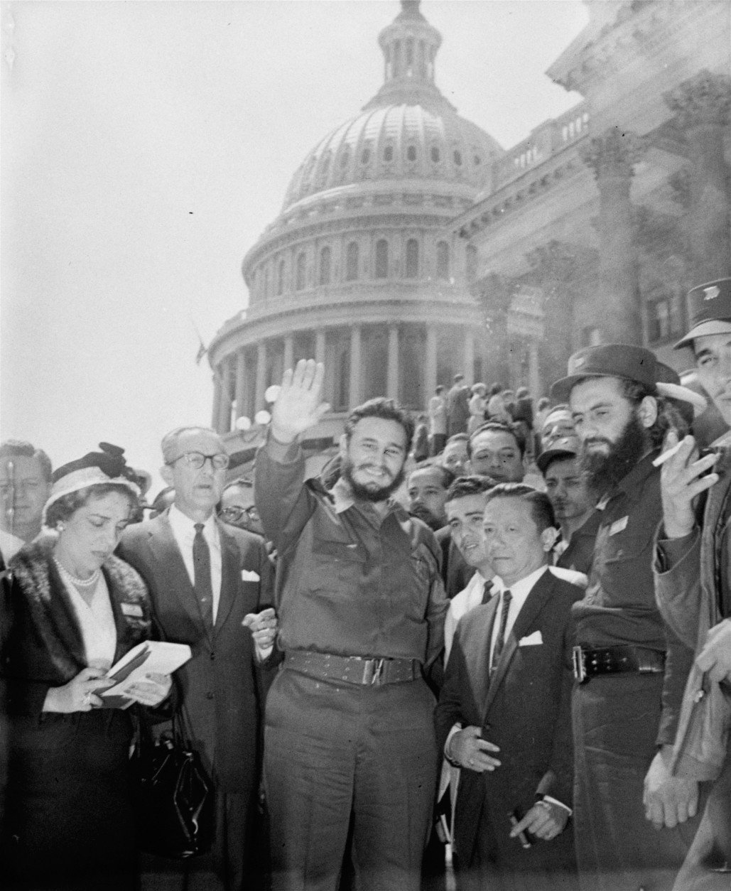 Fidel Castro, fresh from a visit to the Senate Foreign Relations Committee, poses in front of the Capitol today.  The 32-year-old Cuban Prime Minister paid an unheralded visit to the Capitol April 17, 1959 and chatted with members of the committee.  (AP Photo)