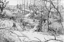 Confederate soldiers attack the Union Army in the Battle of Shiloh, in Tennessee, April 6, 1862, as seen in this rendition by an unknown artist.  (AP Photo)