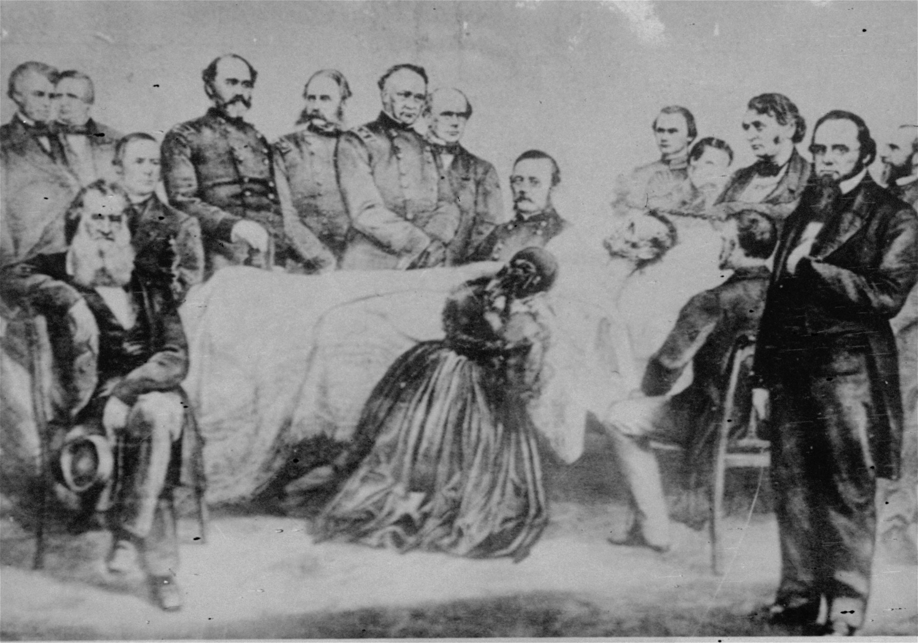 The death bed scene after President Abraham Lincoln was mortally wounded in Ford's Theater April 14, 1865, is shown in this rare picture.  The picture shows Mrs. Lincoln kneeling beside the bed and members of the cabinet behind it.  This picture was supposed to have been given to a friend by Mrs. Lincoln shortly after the funeral and then passed down through the family from generation to generation.  (AP Photo)