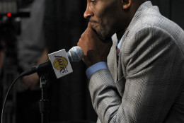 Los Angeles Lakers forward Kobe Bryant reflects at news conference on why he decided to announce his retirement prior to an NBA basketball game against the Indiana Pacers in Los Angeles, Sunday, Nov. 29, 2015. The Pacers won 107-103. (AP Photo/Alex Gallardo)