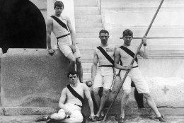 Members of the athletics team of the US Princeton University pose at the first modern International Summer Olympic Games held at the Panathinaiko Stadium in April 1896 in Athens, Greece. From left to right: Francis A. Lane, Herbert Jamison, Robert Garrett and Albert Tyler. (AP Photo)