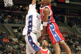 Kobe Bryant playing for the East team in  Magic's Roundball Classic at The Palace of Auburn Hills, Mich., shoots over the West teams Jamaal Magliore.  Both high school seniors, Bryant from Wynnewood, Penn., who attends Lower Merion High School and Magliore of Willowdale, Ontario, who attends Eastern High School of Commerce are undecided on the college they are going to next year. (AP Photo/Jeff Kowalsky)