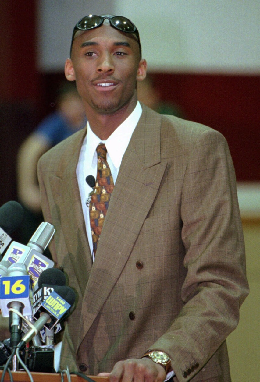 Lower Merion High School basketball star Kobe Bryant announces that he is foregoing college and will enter the NBA draft at a press conference in the school gym in Ardmore, Pa. Monday, April 29,1996 (AP Photo/Rusty Kennedy)