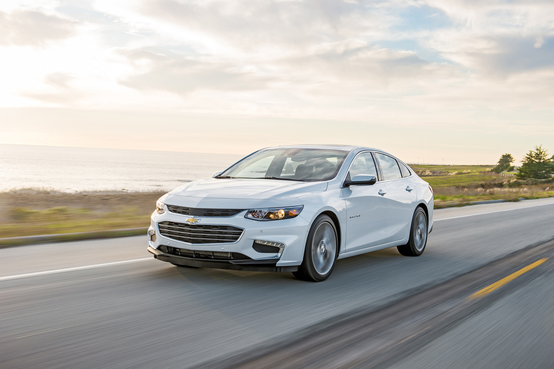 This undated photo provided by General Motors shows the 2016 Chevrolet Malibu. For 2016, the Chevrolet Malibu is newly styled and more fuel efficient, with more of the latest safety and tech features. (Jessica Lynn Walker/Chevrolet via AP) MANDATORY CREDIT