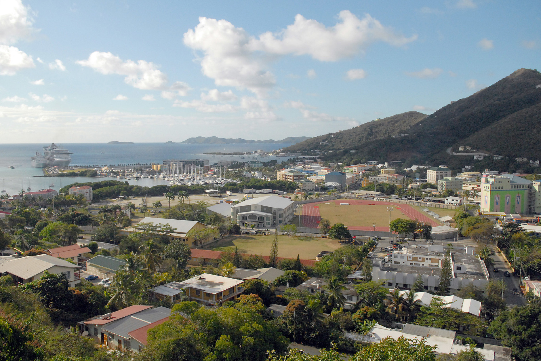 FILE - This April 3, 2009 file photo shows a general view of Road Town, Tortola in the British Virgin Islands. A thriving financial services industry that evolved over the last 30 years, the British Virgin Islands has come under scrutiny like never before thanks to the leak of confidential documents from a Panama-based law firm that specializes in offshore finance. (AP Photo/Todd VanSickle, File)