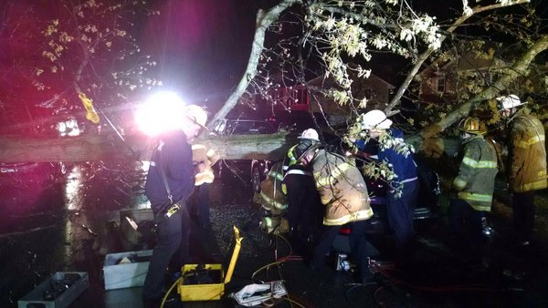 Rescuers from the College Park Fire Department work to free a person who was trapped after a tree fell onto a car in tthe 9600 block of 49th Ave. on Saturday, April 2 , 2016. (College Park Fire Department via Twitter)