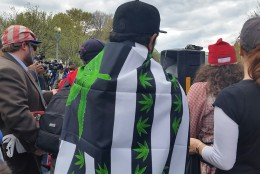This is the scene from a protest outside the White House on Saturday, March 2, 2016. Pro-marijuana activists say President Barack Obama should remove pot from the list of Schedule 1 controlled substances, which includes heroin and other addictive drugs. (WTOP/Kathy Stewart)