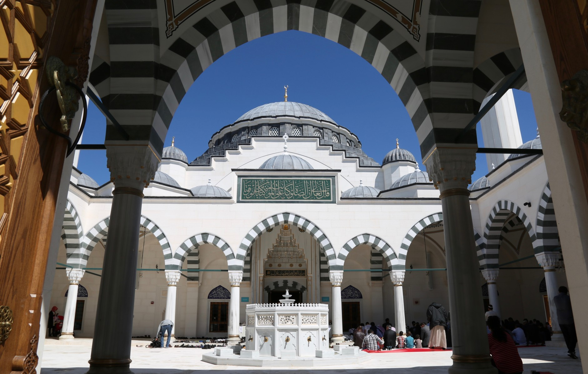 the Diyanet Center of America's mosque on April 1, 2016 in Lanham, Md. The official opening for the Turkish cultural center is on Saturday April 2, 2016. Turkish President Recep Tayyip Erdogan is expected to speak at the event. (WTOP/Omama Altaleb)