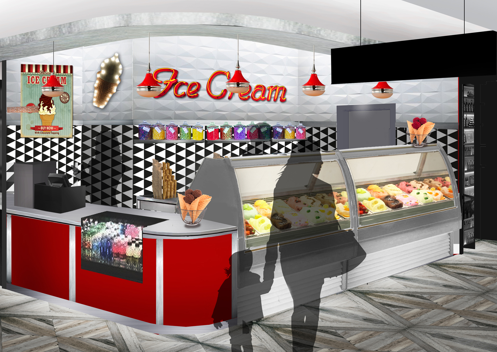 This artist's rendering shows what the 50s-style ice cream food stall will look like inside the under construction MGM National Harbor Casino and Resort in Prince George's County. The $1.3 billion resort is set to open later this year and will feature a food market with 10 different vendors including S'Cream. (Courtesy MGM National Harbor Casino and Resort)