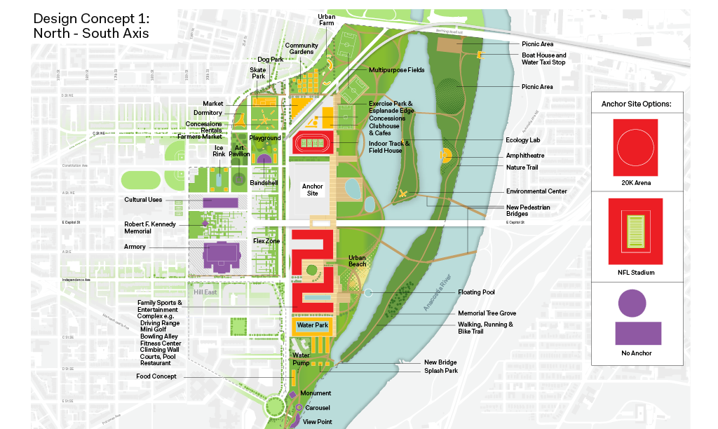 The North-South Axis plan for the RFK Stadium site. (Events DC/OMA)