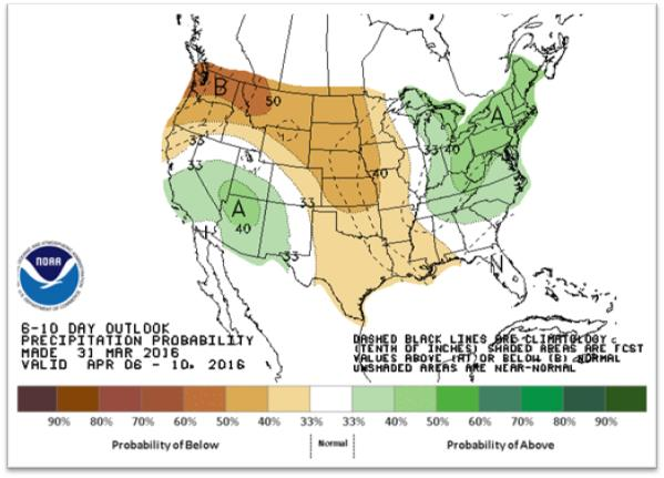 The 6- to 10-day precipitation outlook as of March 31, 2016. (Climate Prediction Center/NOAA)