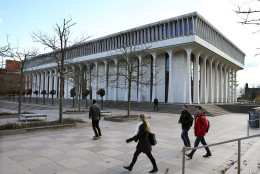 FILE - In this Dec. 3, 2015 file photo shows the Woodrow Wilson School of Public and International Affairs at Princeton University in Princeton, N.J. (AP Photo/Mel Evans, File)