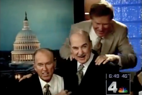 Sportscaster George Michael and meteorologist Bob Ryan say goodbye to Arch Campbell during his final show at NBC-4. (YouTube)