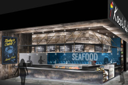 This artist's rendering shows what the seafood stall will look like inside the under construction MGM National Harbor Casino and Resort in Prince George's County. The $1.3 billion resort is set to open later this year and will feature a food market with 10 different vendors. (Courtesy MGM National Harbor Casino and Resort)