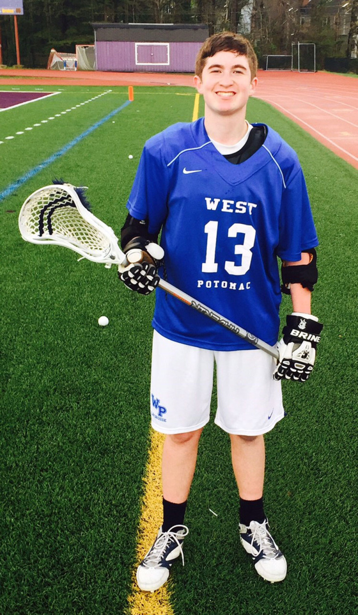 """""""I always try to represent the Lucky 13 Project, on and off the field,"""" Lewis said. Time management is a great challenge for the sophomore who is in the marching band, on the Lacrosse team, in the National Honor Society and makes straight As - in addition to raising money for the Flint, Michigan project. (Photo courtesy of Seth Lewis)"""