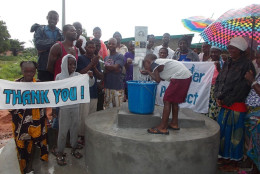 In 2012 Seth Lewis started the Seth Lewis Lucky 13 Water Project and raised money to be the sole source funder for The Water Project to build this well in Thumorso, Sierra Leone. (Photo courtesy of TheWaterProject.org)