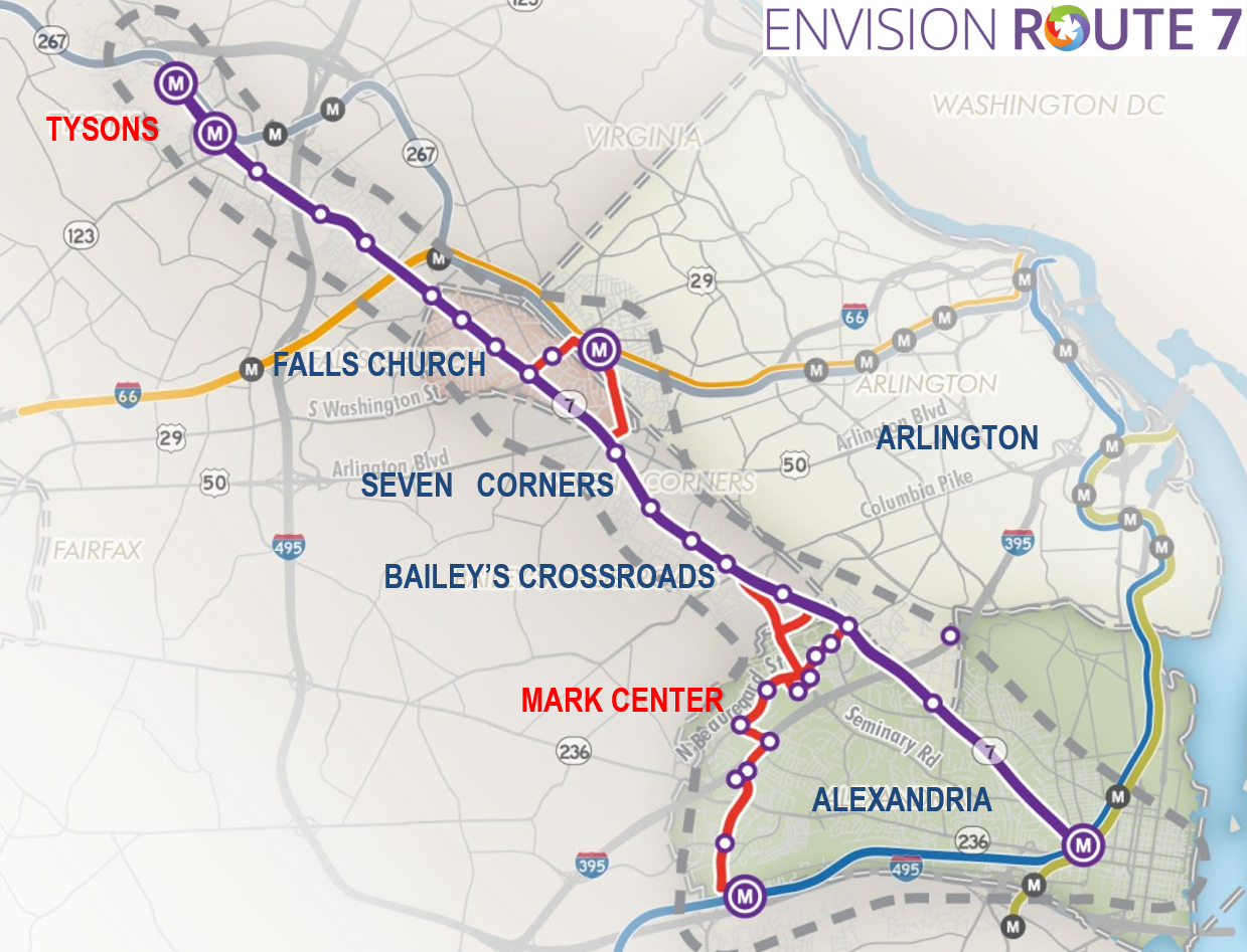 The recommendation being presented Thursday is that buses would follow the purple line on the map from the top left (Spring Hill Metro) to Falls Church where the buses would then follow the red line to connect to East Falls Church, then continue to the Mark Center only, without continuing to either Van Dorn St. or King St. Metro stations.(Courtesy of NVTC)