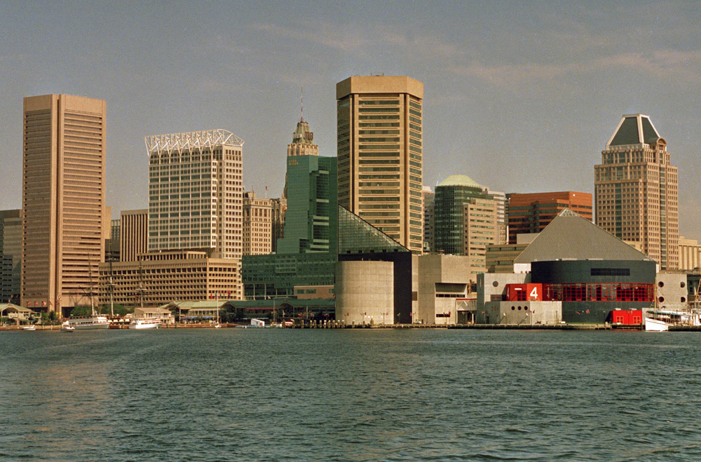 The Baltimore skyline and Inner Harbor are seen in this file photo. The Baltimore area's unemployment rate has fallen to its lowest level since before the recession. (AP Photo/Carlos Osario)