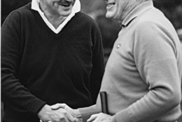 Arch Campbell plays golf with Bob Hope. (Courtesy Arch Campbell)