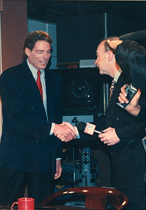 Arch Campbell interviews Christopher Reeve. (Courtesy Arch Campbell)