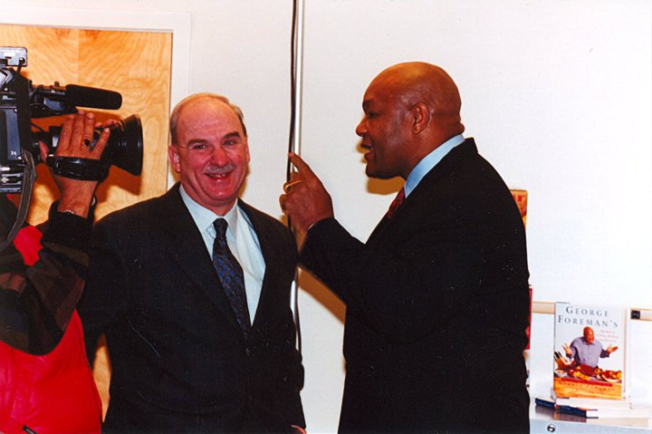 Arch Campbell chats with George Foreman. (Courtesy Arch Campbell)
