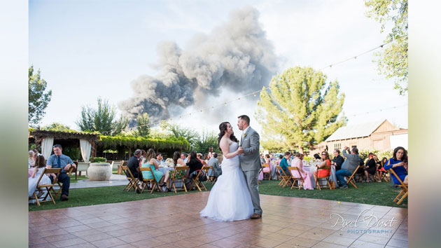 Five-alarm fire serves as unlikely backdrop to wedding photos