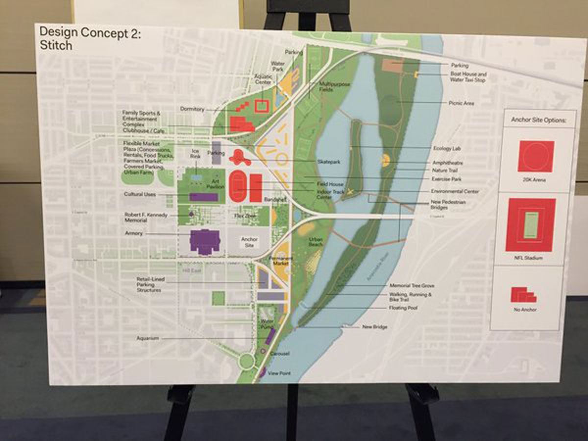 The second proposed design concepts for the current RFK Stadium site. (WTOP/Michelle Basch)