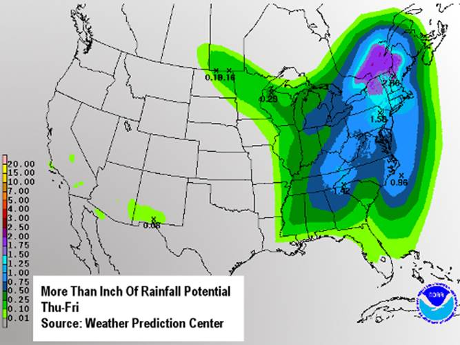 More than an inch of rainfall potential Thursday through Friday (Source: Weather Prediction Center)