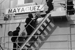 US marines from USS Harold E. Holt storming aboard Mayaguez to recapture ship and rescue crewmen from Cambodian terrorists.  (Photo by Time Life Pictures/US Navy/The LIFE Picture Collection/Getty Images)