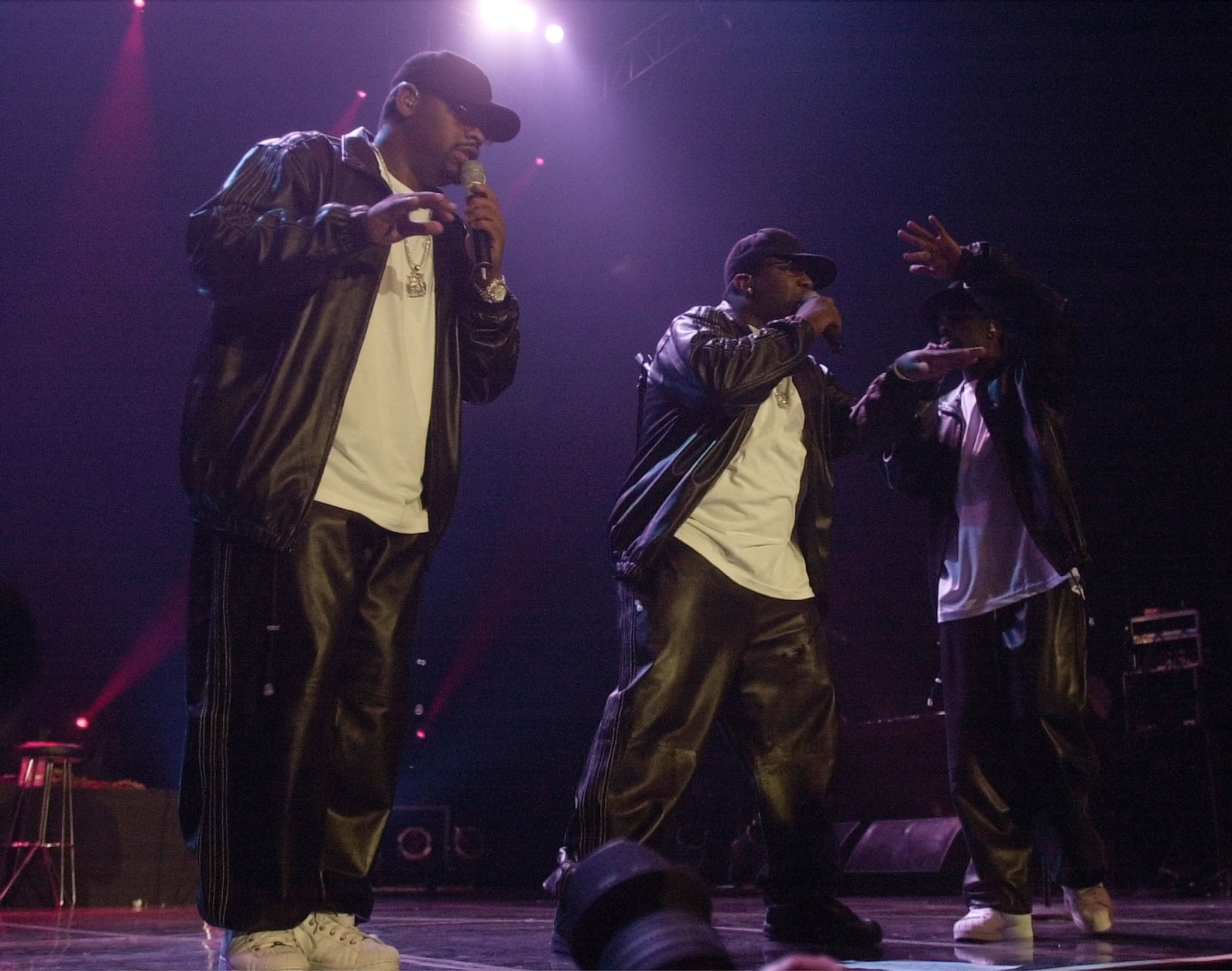 American R&B group Boyz II men perform during a concert in Jakarta, Indonesia, Sunday night, May 2, 2005. (AP Photo/ Achmad Ibrahim)