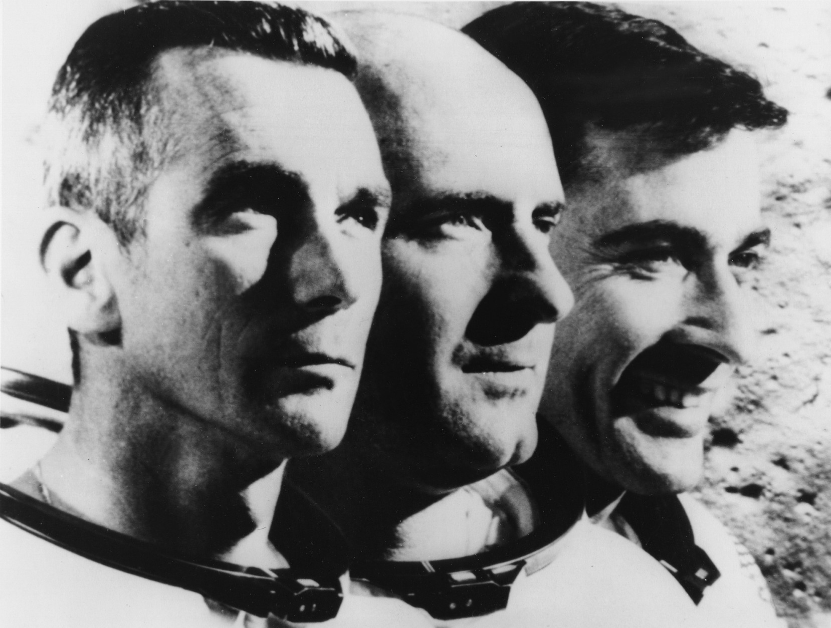 Image shows the three astronauts  of Apollo 10 from left to right.: Eugene A. Cernan, Commander Stafford, John W. Young, USA, May 1969.  (AP Photo)