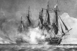 """Copies of paintings depicting the battle of the American frigate Chesapeake and Britain's Shannon during the War of 1812. The American commander, Capt. Lawrence, while dying, uttered the historic command """"Don't give up the Ship"""" in an undated photo.  (AP Photo)"""