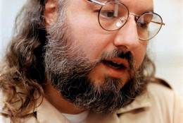 FILE - In this May 15, 1998 file photo, Jonathan Pollard speaks during an interview in a conference room at the  Federal Correction Institution in Butner, N.C. The U.S. Bureau of Prisons says convicted Israeli spy Jonathan Jay Pollard has been hospitalized at a prison medical center in Butner, N.C., since April 4.  (AP Photo/ Karl DeBlaker, File)