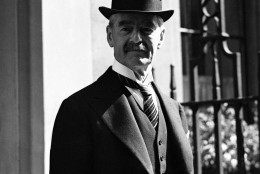 Neville Chamberlain, Chancellor of the Exchequer photographed returning to No. 11 Downing Street, London after he had an audience with King George VI on the day that Stanley Baldwin resigned as Prime Minister on May 28, 1937. It is expected that he will become the new Prime Minister of Britain. (AP Photo/Staff/Putnam)