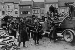Upon decision of King Leopold 3rd of Belgium, the Belgian army surrendered, May 28, 1940. The disarming of Belgian soldiers the arms are being stacked under German observation. (AP Photo)