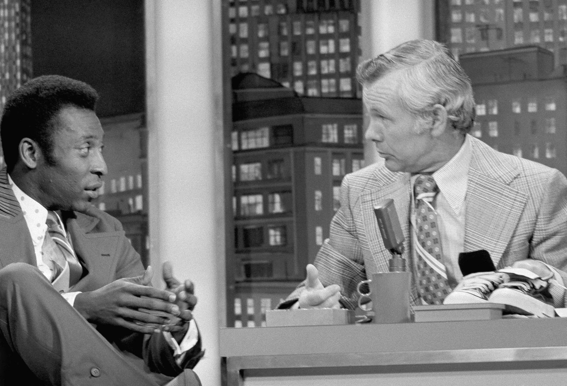 Brazilian soccer star Pele appears on the ?Tonight Show? with Johnny Carson (NBC-TV) on May 7, 1973 in New York. (AP Photo/Allen Green)
