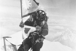 Mountain climber Junko Tabei becomes the first woman to stand on the summit of Mt. Everest in Nepal on May 16, 1975.  (AP Photo)
