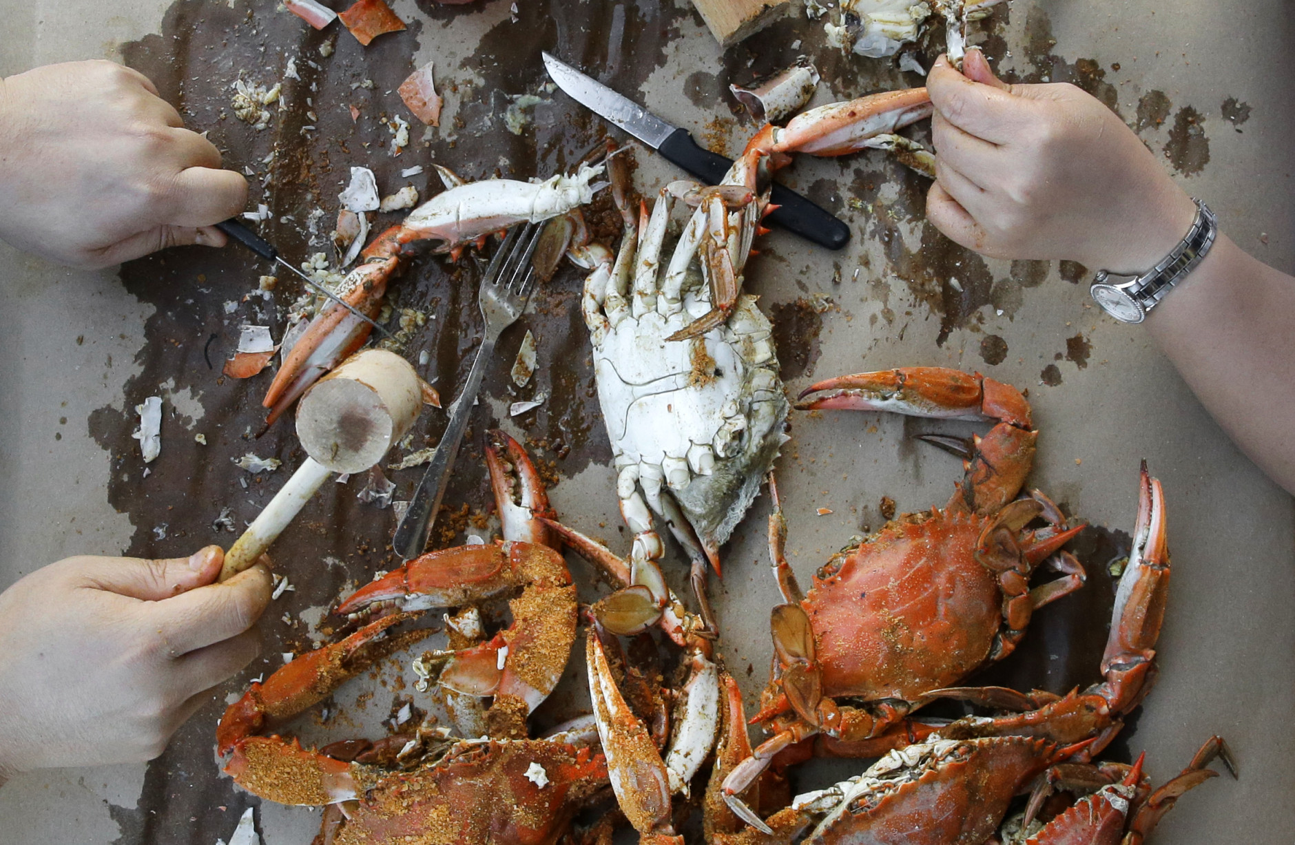In this May 30, 2014 picture, Wallie Leung, left, and his wife Jenny eat an order of crabs at Jimmy Cantler's Riverside Inn in Annapolis, Md. (AP Photo/Patrick Semansky)