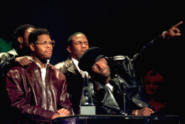 """Members of the group Boyz II Men accept their award at the 22nd annual American Music Awards in Los Angeles, Ca., Monday, Jan. 30, 1995.  The group's hit single """"I'll Make Love To You"""" won in the categories of pop-rock and soul-rhythm and blues.  The group was also given an award as the favorite group in the soul-rhythm and blues category.  The band members are, Michael McCary, Wanya Morris, Nate Morris and Shawn Stockman.  (AP Photo/Reed Saxon)"""
